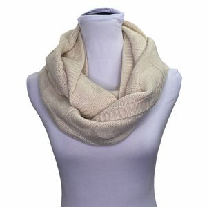 Coach Beige Wool Cashmere Leather Infinity Scarf